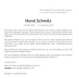 Traueranzeige Horst Schmitz